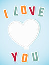 Paper heart banner with text I love you Royalty Free Stock Photos