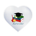 Paper heart with books, autumn leaves, hat and pencils Royalty Free Stock Photo