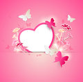 Paper heart and butterflies vector valentine background with Royalty Free Stock Images