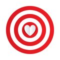 Paper heart in the center of darts target aim. Royalty Free Stock Photo