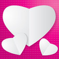 Paper heart on pink background Stock Images