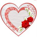 Paper heart with red roses isolated on white background Royalty Free Stock Image
