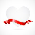 Paper Heart with Ribbon Royalty Free Stock Image