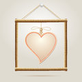 Paper Heart in wood frame Royalty Free Stock Photography