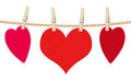Paper hearts and card on rope, isolated on white Royalty Free Stock Photo