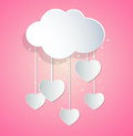 Paper hearts and cloud valentine background with Royalty Free Stock Photography