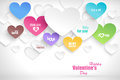 Paper hearts with shadow vector valentines day abstract background Stock Images