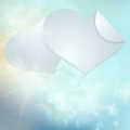 Paper hearts Valentines day card. Royalty Free Stock Images