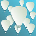 Paper hot air balloon banner with drop shadows on blue background Stock Photos