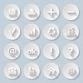 Paper icons set of computor web site and internet in style Royalty Free Stock Photos