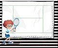 A paper with an image of a boy playing tennis illustration Stock Images