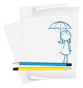A paper with an image of a child holding an umbrella illustration on white background Stock Photo