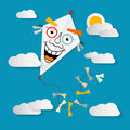 Paper kite on sky with clouds and sun vector illustration Stock Photos