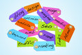 Paper labels different colors different words engine optimization internet concepts Stock Image
