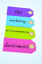 Paper labels different colors different words research development concept Stock Photos