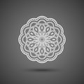Paper lace doily, decorative snowflake, mandala, round crochet ornament, illustration