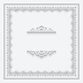 Paper lace frame ornamental on white background Royalty Free Stock Photography