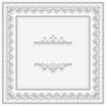 Paper lace square frame cutout on white background Stock Photo