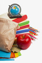 Paper lunch bag with red apple Royalty Free Stock Images