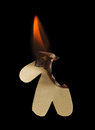 Paper man half burn in flame Royalty Free Stock Image