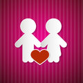 Paper man and woman with heart on pink red cardboard background Royalty Free Stock Images