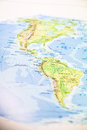Paper map of the american continents and oceans Royalty Free Stock Photography