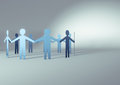 Paper men d render of people in a circle Stock Images