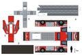 Paper model of a fire truck