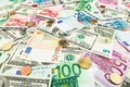 Paper money euro and dolar. background of banknotes Royalty Free Stock Photo