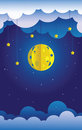 Paper moon and stars sky decoration little theater hanged clouds Stock Photography