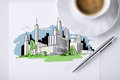 Paper for note with city sketch and coffee Royalty Free Stock Photo