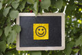 Paper note with happy face on blackboard hanging on a tree Royalty Free Stock Photo