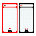Paper Note Planner set. Cell texture. To do list Organizer Schedule template. Kids style. Empty place for notes. Black cat, red he