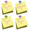 Paper note with push pin and I love you words Royalty Free Stock Photo