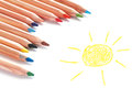 Paper notebook with colored pencils and drawn sun Stock Photos