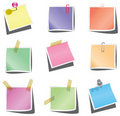 Paper notes with push pin and paperclip Royalty Free Stock Photo