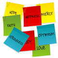 Paper notes set with positive words Royalty Free Stock Photo