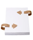 Paper with old bookmark ribbons isolated on a white background Royalty Free Stock Photo