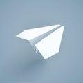 Paper origami airplane. Handicraft