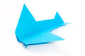 PAPER ORIGAMI AIRPLANE OVER WHITE BACKGROUND Royalty Free Stock Photo