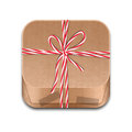 Paper package tied up with strings icon of can used for ios app Stock Images