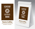 Paper packaging with label for coffee bean