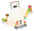 A paper with a park with many kids illustration of on white background Royalty Free Stock Photography