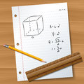 Paper with pencil and ruler math exam on wood desk eps Stock Photo