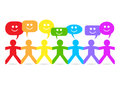 Paper People Happy Speech Bubbles Royalty Free Stock Photo