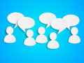 Paper people with speech bubbles on blue Royalty Free Stock Photo
