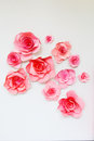 Paper pink decorative flowers Royalty Free Stock Photo