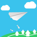 Paper plane on abstract background Stock Photos