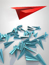 Paper plane attack red paperplain blue ones Stock Photography