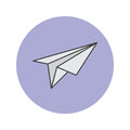 Paper plane thin line icon, filled outline vector logo illustrat